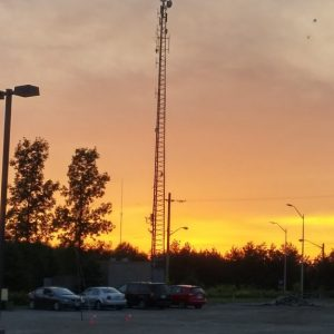 Shot of our repeater tower at sundown on Field Day 2016.