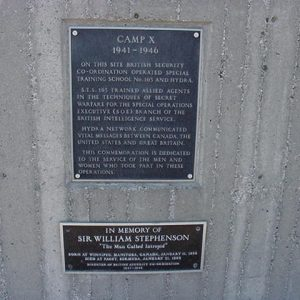 Photo of the plaque commemorating camp X as a historical site.