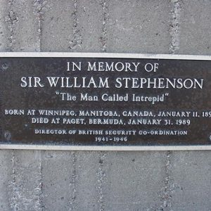 Plaque in memory of the man called intrepid, Sir William Stephenson.