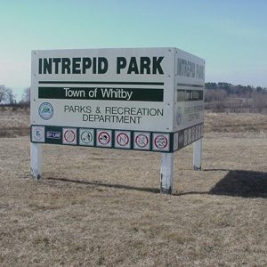 Sign for Intrepid Park in Whitby.