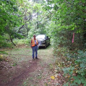Doug VA3DCE watches for riders at his checkpoint on the trails in Ganaraska Forest