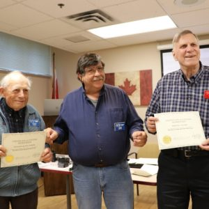 Farny VE3BHQ (left) and Ralph VE3CRK (right) are awarded lifetime memberships by our president Steve VA3TPS in the middle on May 15th, 2017.