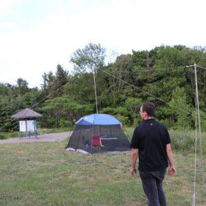 Alex VE3ZSH helps set up the GOTA station antenna
