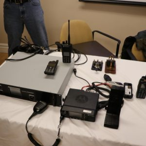 Andre VE3WZW brought a table full of DMR! Repeaters, mobiles, and handhelds galore!