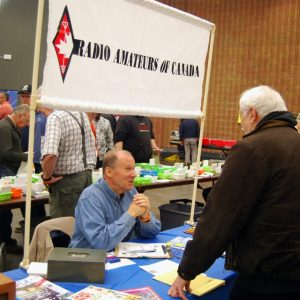 Many hams visited Stan VE3TW as he recruited new members and renewed memberships throughout the day
