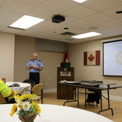 Tim Speed of the Canadian Warplane Heritage Museum speaks with our club members.