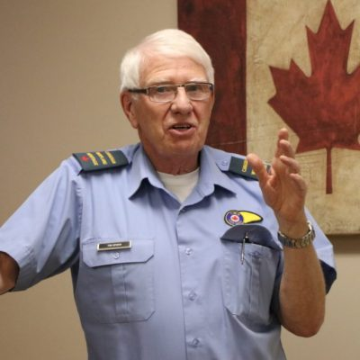 Tim Speed of the Canadian Warplane Heritage Museum gives a presentation on warplane history.