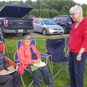 Peter VE3PWJ, his wife Diane (definitely the better half!) and Dave's wife at our Summer Kick Off BBQ.