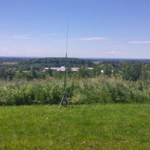 The view from Ralph VE3CRK and Bob's VE3HIX operating station, complete with adjustable vertical perfect for 20m and 40m, and a decent job for 80m also.