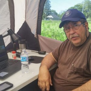 Steve VA3TPS at his computer working digital for the 2017 ARRL Field Day Contest.