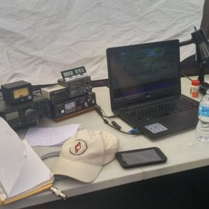 Here we see a wide shot of Steve's VA3TPS table setup for the 2017 field day contest.