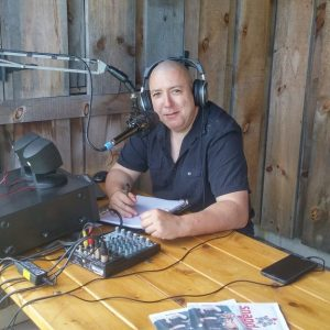 Michel VA3HEM working voice contacts at our 2017 Field Day event along with his radio broadcast grade station complete with mixer and mic mount