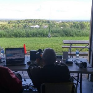 Bob VE3HIX and Ralph VE3CRK work the CW station at Field Day 2017 with one of the greatest views at our site