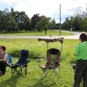 Mike VA3MCX had a great seat at our BBQ this year! Ready with an antenna and everything.