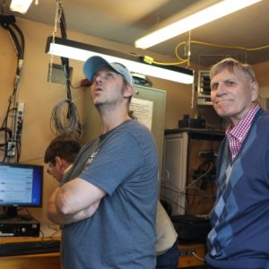 Barry and Ralph VE3CRK admire some of the equipment in our Repeater Shack.