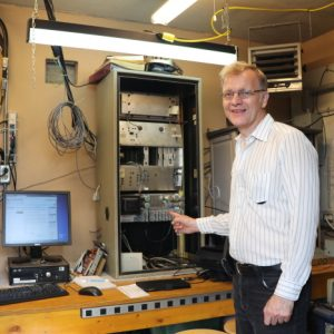 Bob VE3IRB poses with some of the equipment in the Repeater Shack.