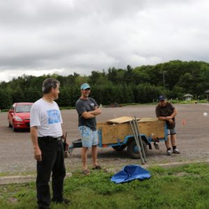 Mike VA3MCX, Barry and Steve VA3TPS take a quick break from set up.