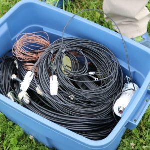 Michel VA3HEM is ready for Field Day with his bucket of all the cables he could need.
