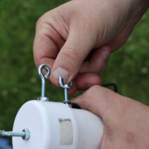 Michel VA3HEM sets up his balun for the weekend.