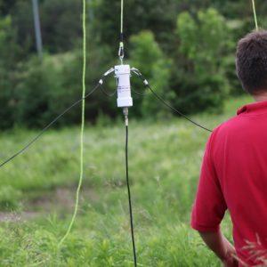 Clint VA3KDK checks out Michel VA3HEM's balun set up