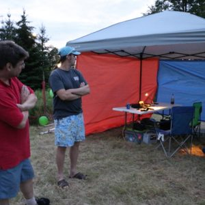 Clint VA3KDK and Barry check out Martha VA3SBD's set up before it gets too dark.