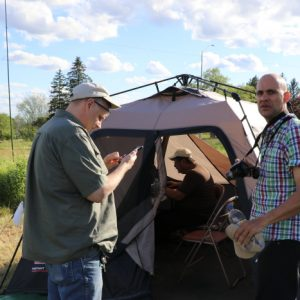 Laird VE3LKS and Andre VE3WZW take a moment outside of Steve VA3TPS' tent during the weekend