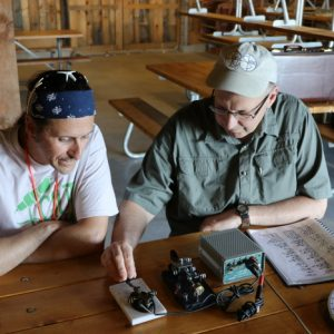 Barry and Laird VE3LKS brush up on their morse code skills