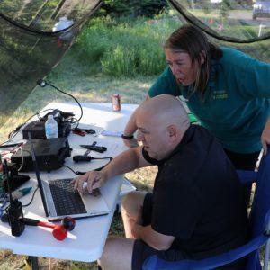 Michel VA3HEM tries out Martha VA3SBD's set up