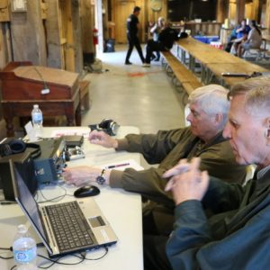 Bob VE3HIX and Ralph VE3CRK make a few more contacts at the CW station